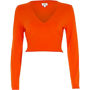 Orange long sleeve ribbed insert crop top