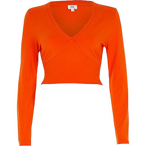 Orange long sleeve ribbed insert crop top