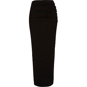 Black ruched side jersey maxi skirt