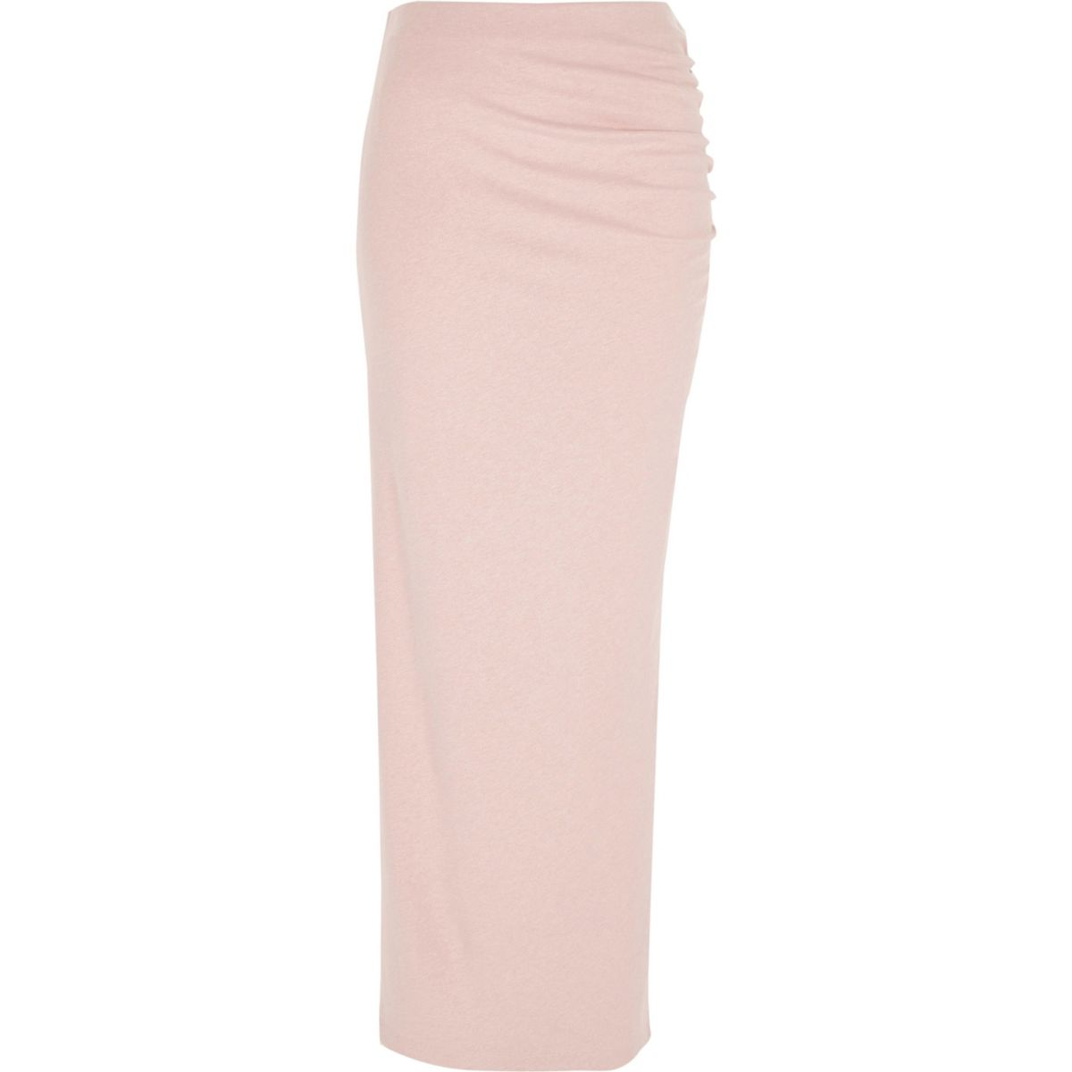 Light pink ruched side maxi bodycon skirt