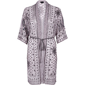 Light grey embellished tie waist kimono