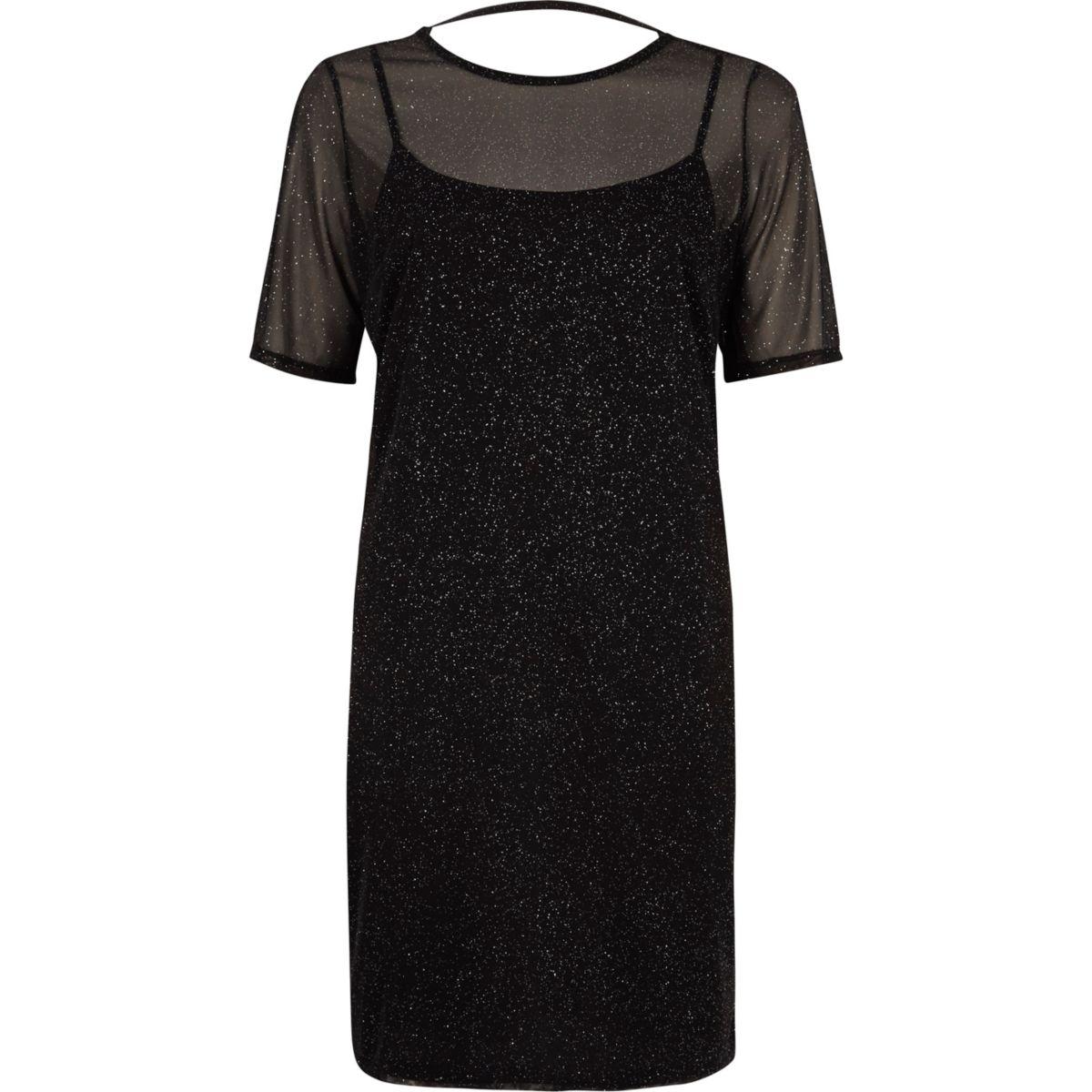 Black glitter mesh T-shirt dress