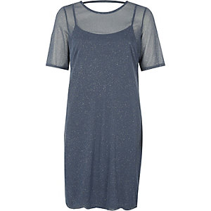 Robe t-shirt en tulle gris foncé à paillettes
