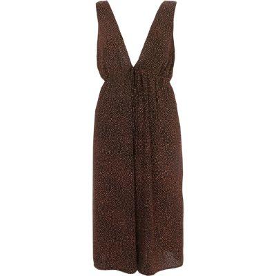 River Island Oranje diepuitgesneden mouwloze midi-jurk met glitters