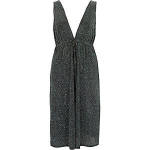 Blauwe diepuitgesneden mouwloze midi-jurk met glitters