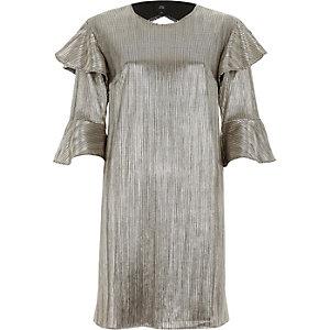 Goldenes T-Shirt-Kleid mit Rüschen