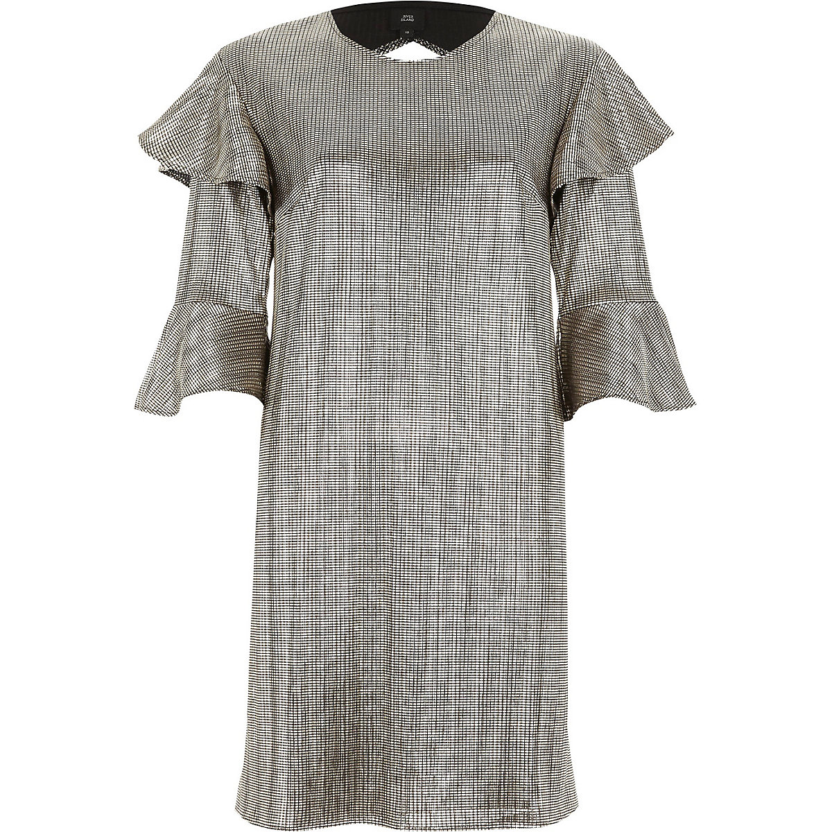 Gold foil frill T-shirt dress