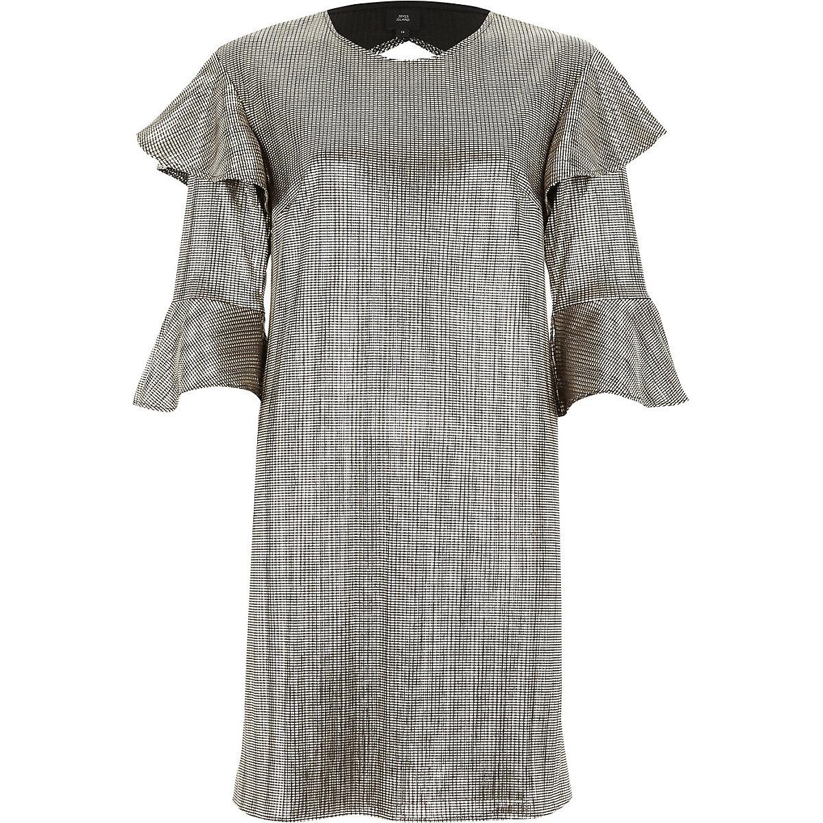 Gold foil frill T-shirt dress