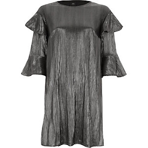 Silver foil frill T-shirt dress