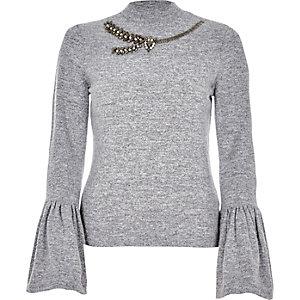 Marl grey bell sleeve embellished neck top