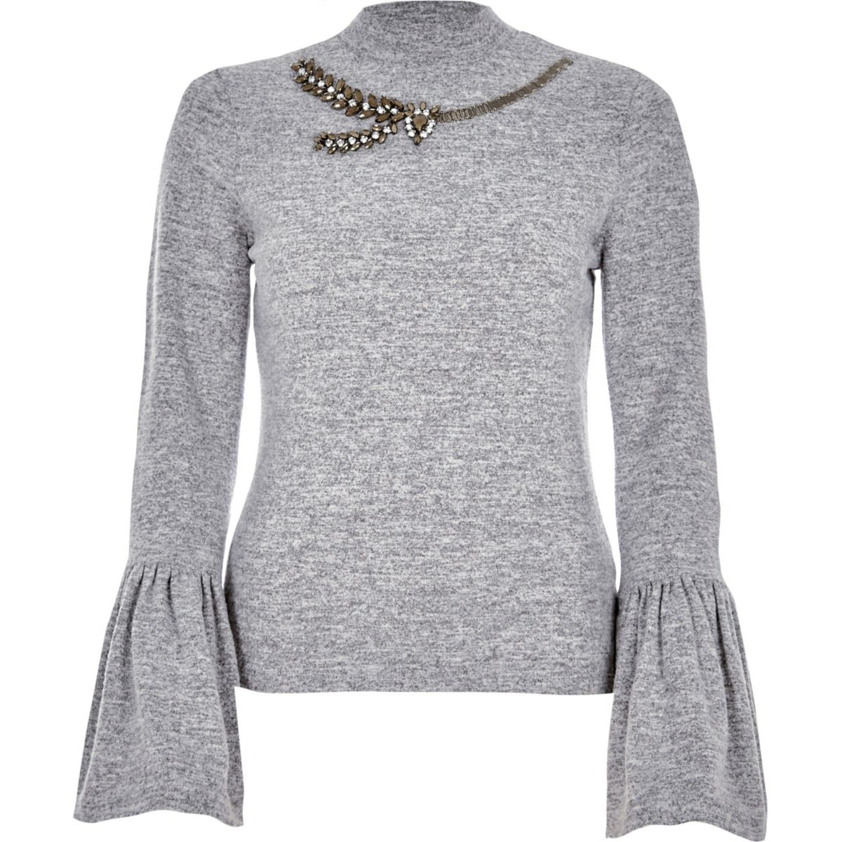 Marl grey bell sleeve embellished neck top