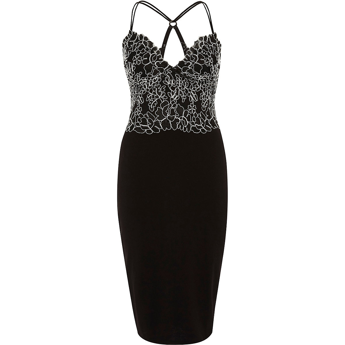Black lace cami bodycon midi dress