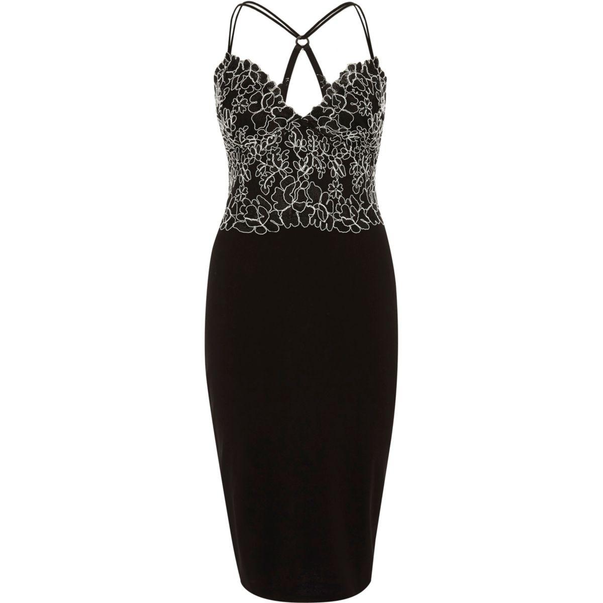 Black lace cami bodycon midi dress