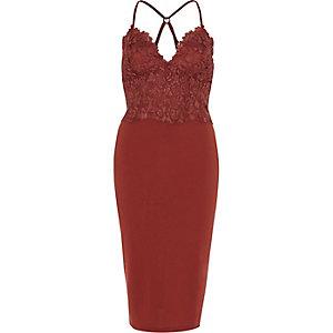 Dark pink lace cami bodycon midi dress