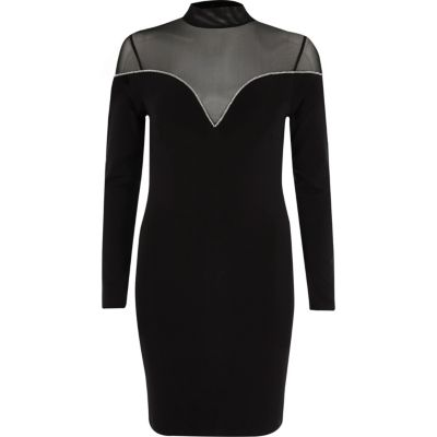 River Island Zwarte mini-jurk met mesh inzetstuk en siersteentjes aan de zoom