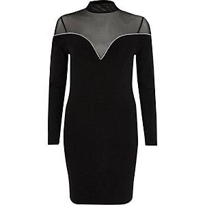 Zwarte mini-jurk met mesh inzetstuk en siersteentjes aan de zoom