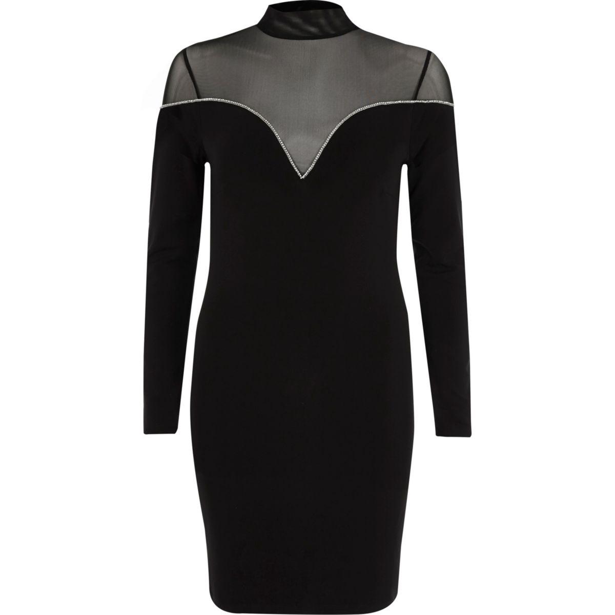 Black mesh insert diamante trim mini dress
