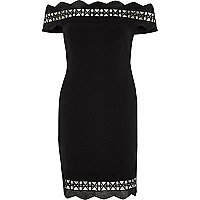 Black geo trim bardot bodycon mini dress