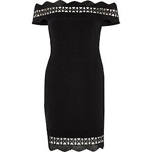 Schwarzes Bodycon-Bardot-Kleid in Minilänge mit Borten mit Geoprint