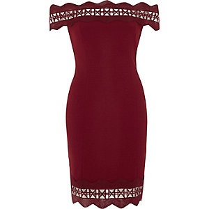 Dark red geo lazer cut bodycon bardot dress