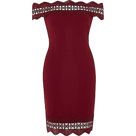 Dark red geo lazer cut bodycon bardot dress