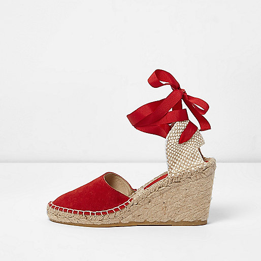 Red suede ankle tie espadrille wedges