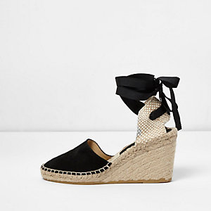 Black suede ankle tie espadrille wedges