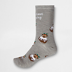 Grey 'Christmas pugging' ankle socks