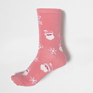 Pink 'snow probs' Christmas ankle socks