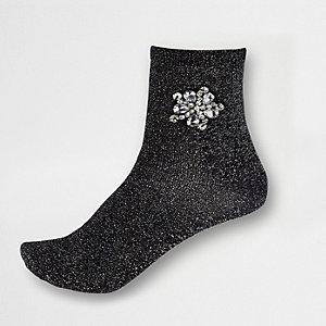 Socquettes noires avec broche à strass
