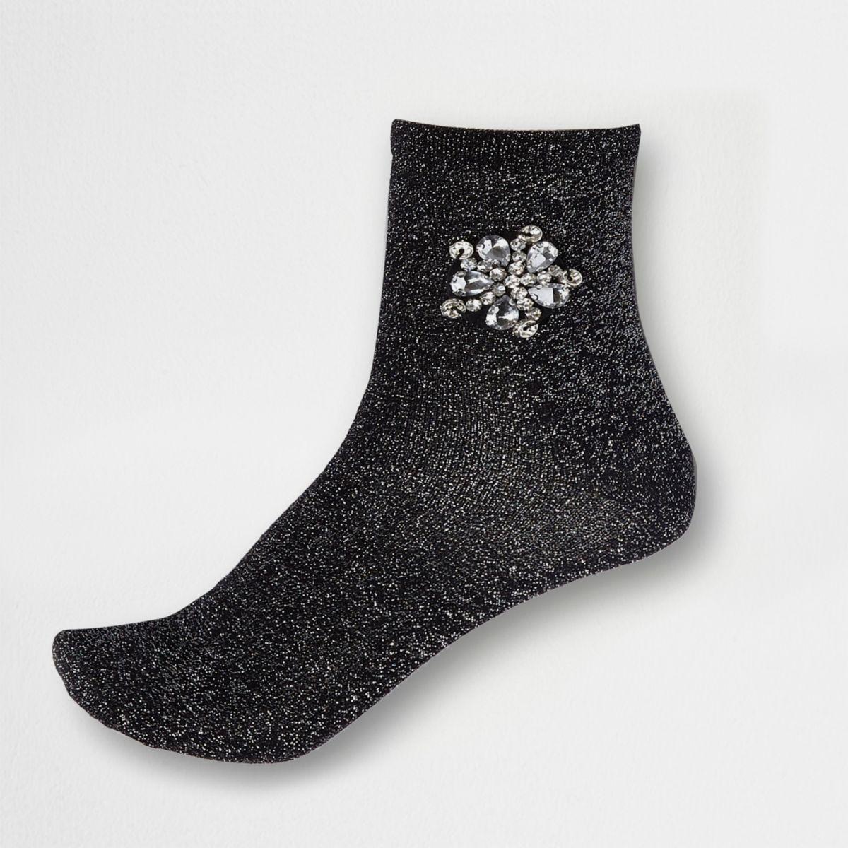 Black glitter rhinestone brooch ankle socks
