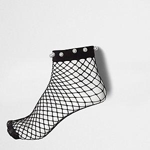 Socquettes en résille noires à fausses perles