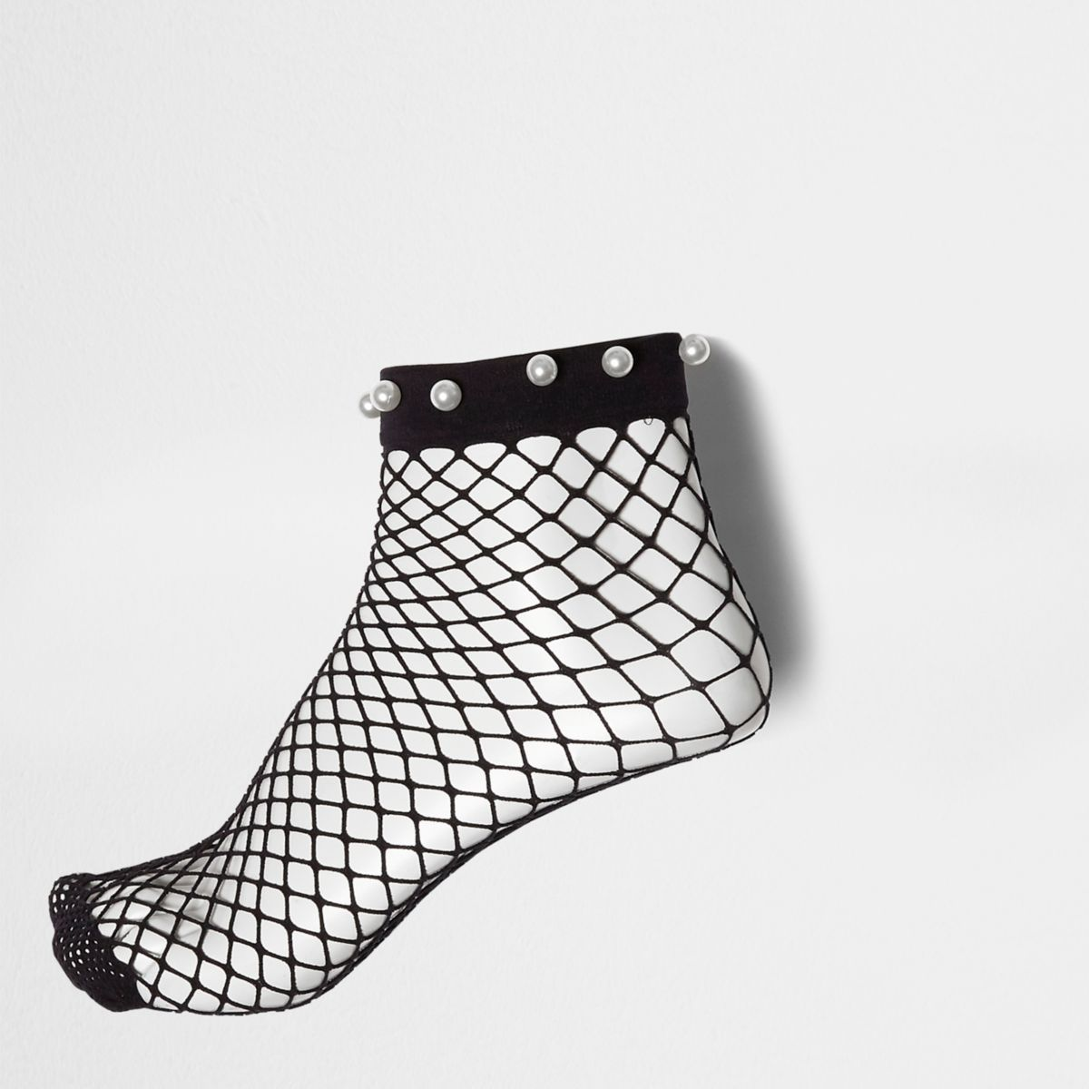 Black faux pearl fishnet ankle socks