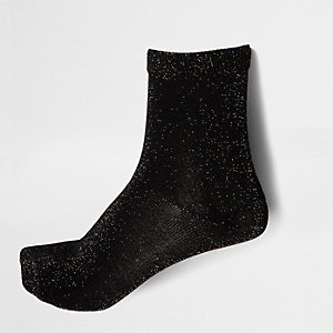Black lurex stitch ankle socks