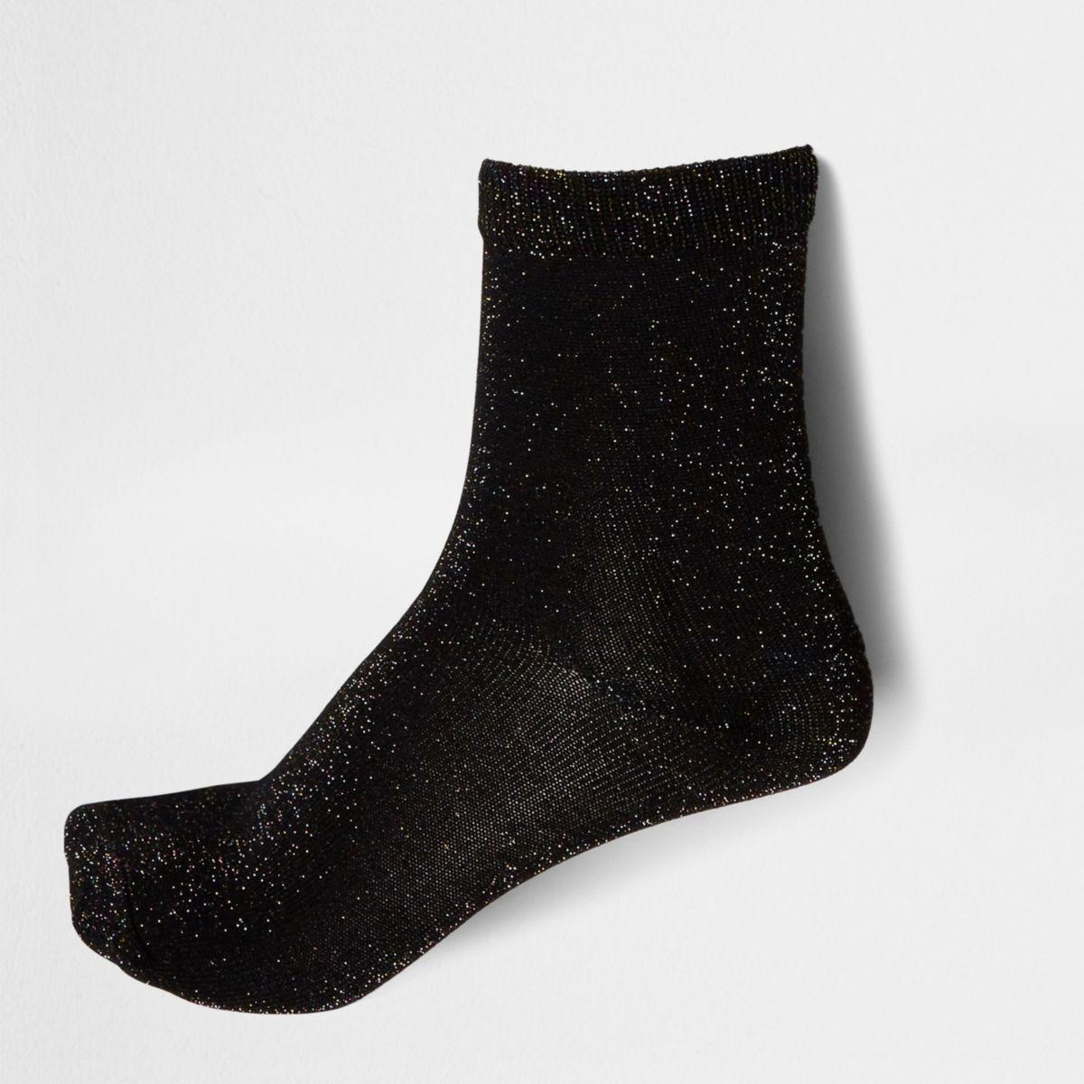 Black lurex stitch ankle socks