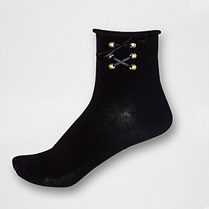 Black lace-up ankle socks