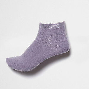 Light purple fluffy ankle socks