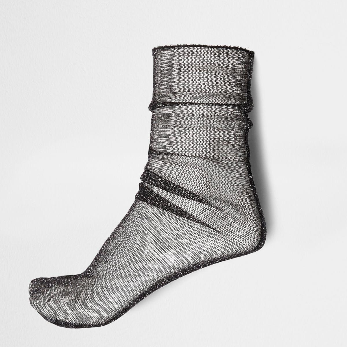 Black lurex stitch sheer socks