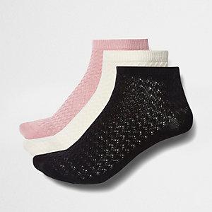 Multipack donkerroze sokken met textuur
