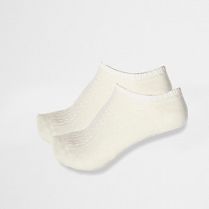 Cream cable knit ankle socks multipack