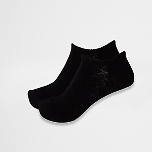 Black cable knit ankle socks multipack