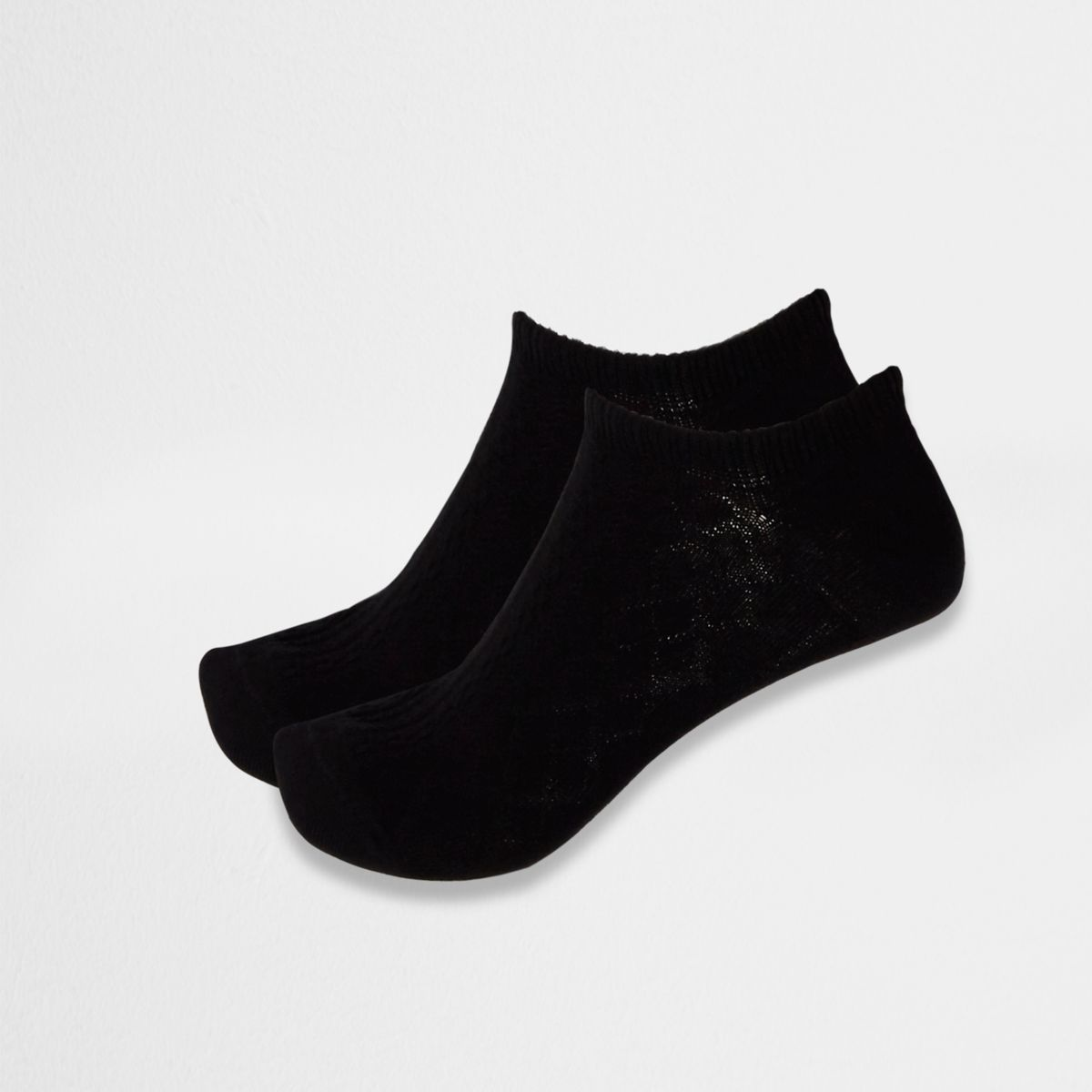 Multipack zwarte enkelsokken met kabelpatroon