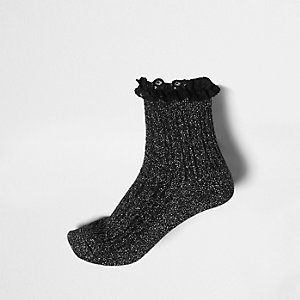 Black lurex stitch frill ankle socks