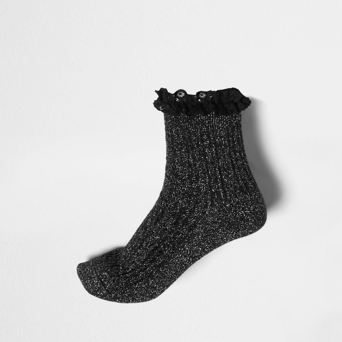Black glitter stitch frill ankle socks