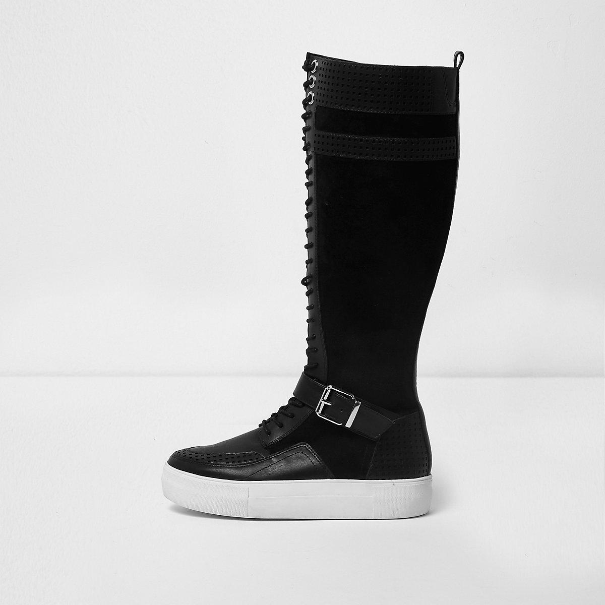 Black lace-up flatform knee high trainers