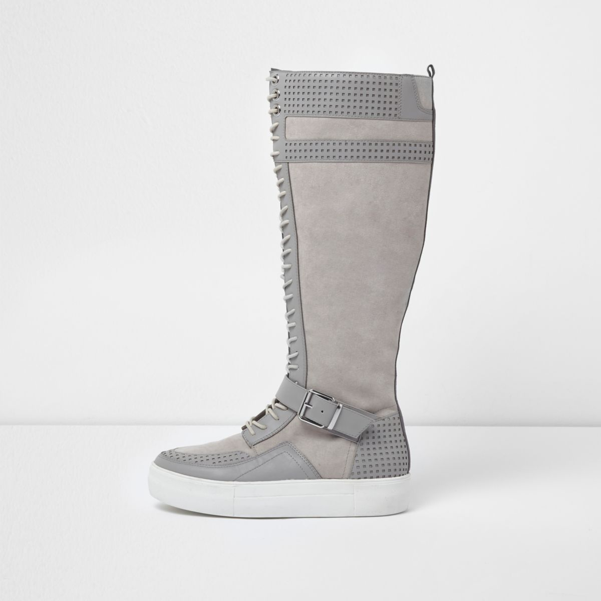 Grey lace-up flatform knee high trainers