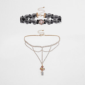 Black lace diamante cup chain choker set