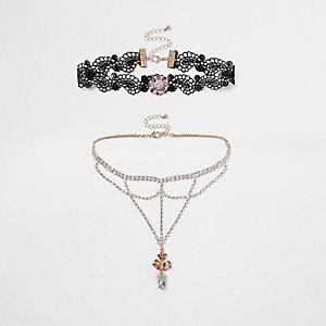 Black lace rhinestone cup chain choker set