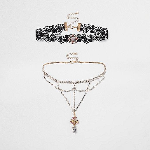 Black lace diamante cup chain choker set