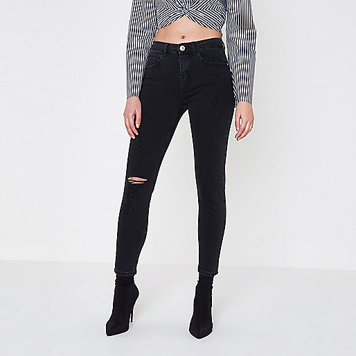 Black distressed Alannah relaxed skinny jeans